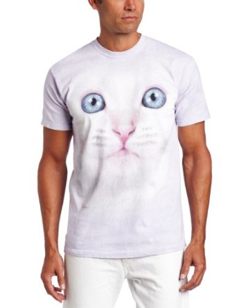 Amazon.com: The Mountain Men's White Kitten Face T-shirt: Clothing