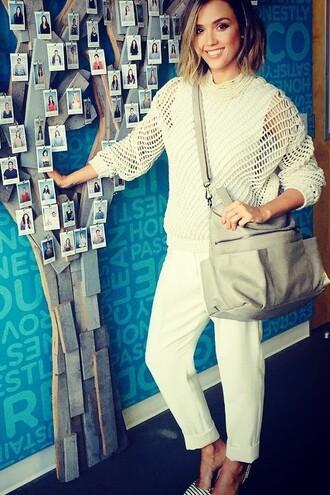 bag purse jessica alba sweater pants instagram