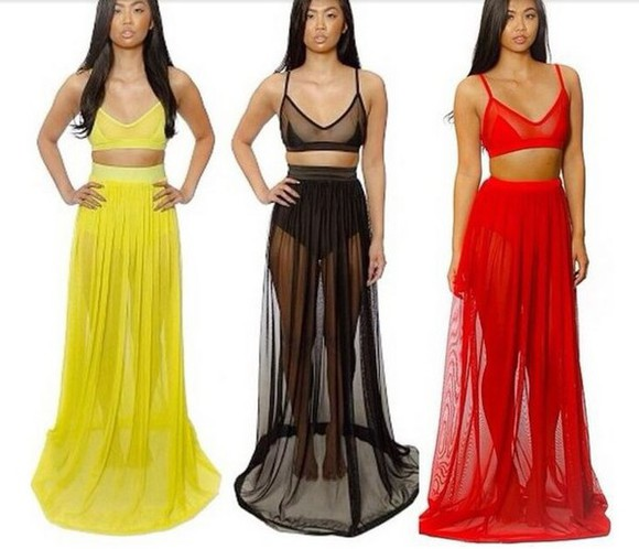 skirt black yellow yellow skirt red black skirt red skirt netting see through underwear maxi skirt summer outfits
