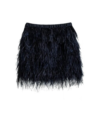 skirt navy blue black feather skirt feather ostrich party new year's eve texture