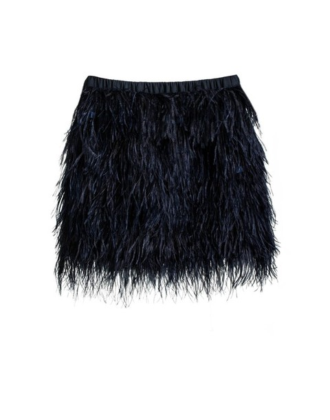 Skirt: navy, navy, blue, black, feather skirt, feathers, ostrich ...