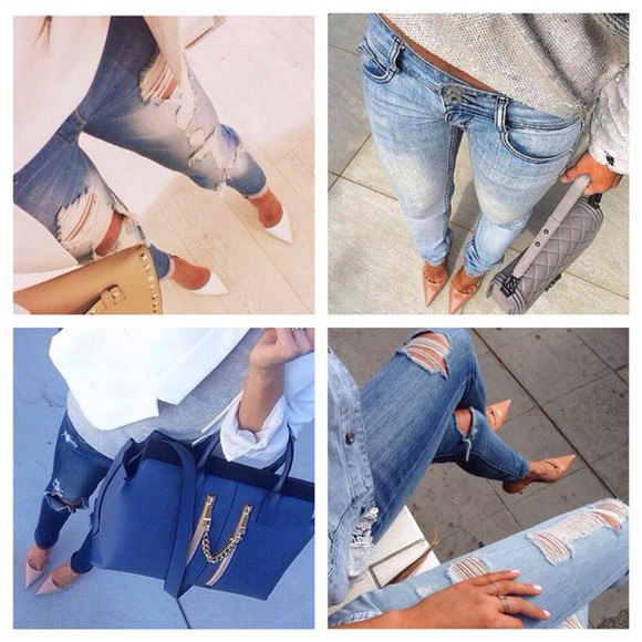 summer outfits bag style denim skinny classy jeans skinny pants high waisted jeans ripped jeans high waisted high heels nude big bag big bags