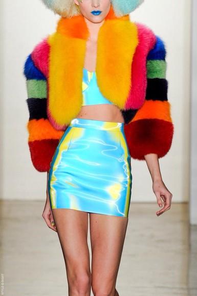 colorful holographic skirt fur coat vinyl fur