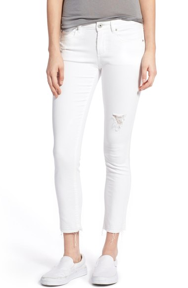 Articles of Society 'Carly' Frayed Hem Crop Skinny Jeans (Worn White) | Nordstrom