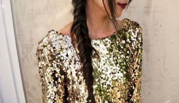 red lips hairstyles top sequen top long sleave braid sequins gold sequins