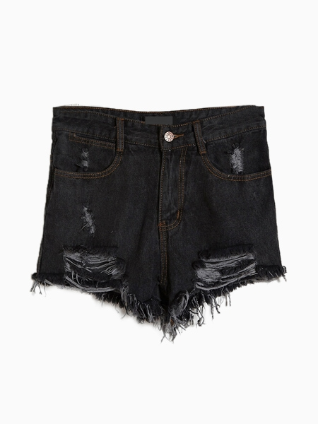 Black Denim Shorts With Cut Out | Choies