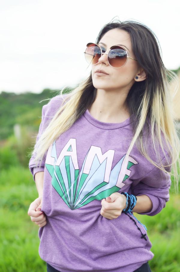 sweater romwe pullover purple lame