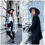 the fashion fruit,blogger,blouse,grey coat,faux fur,vans,jacket,pants,coat,grey,black,white