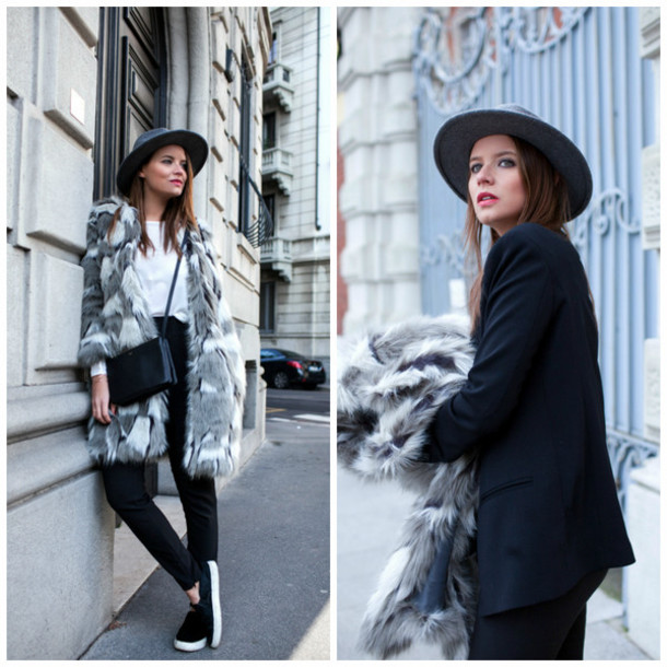 the fashion fruit blogger blouse grey coat faux fur vans jacket pants coat grey black white