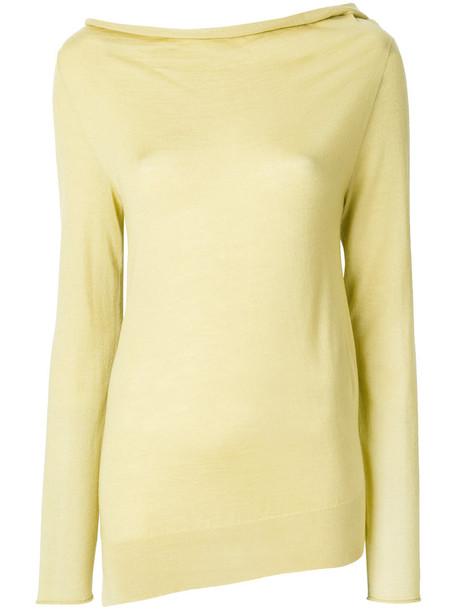 Jil Sander sweater women silk yellow orange