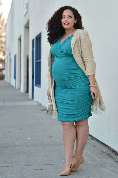 dress, teal, nude heels, plus size maternity, curvy, plus size, plus ...