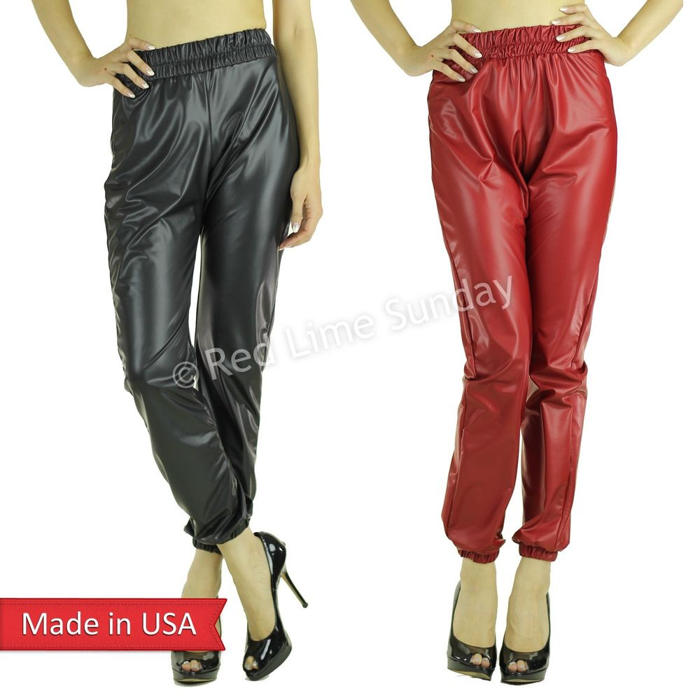New Trend Matte Black Red Faux Leather Jogger Jogging Pants Bottom Trouser USA