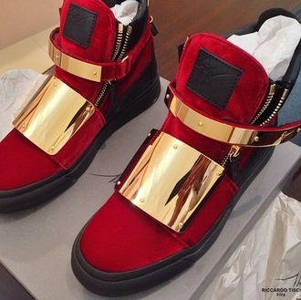 shoes red gold giuseppe zanotti black sneakers