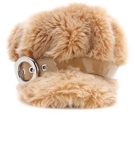 Miu Miu fur faux fur hat fur hat beige
