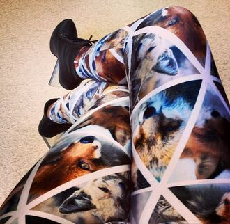 leggings fox coyote triangle wolf black milk clothing