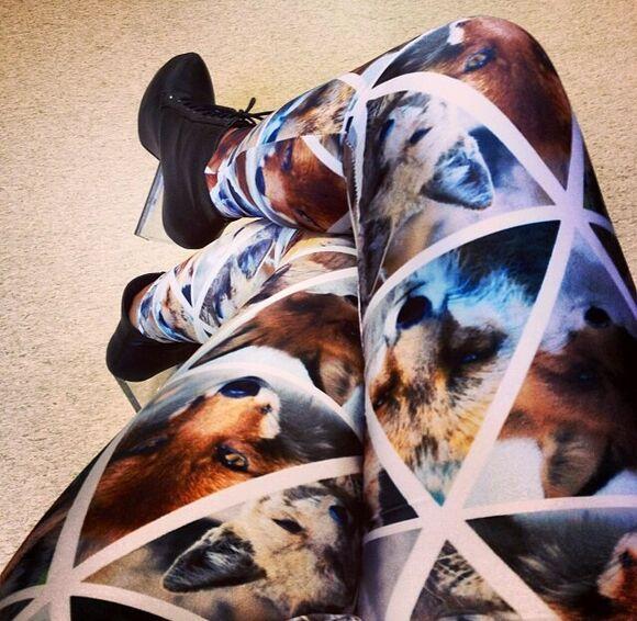 leggings fox coyote triangles wolf black milk clothing