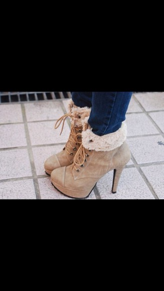 fur beige high heels fall outfits fall outfits shoes