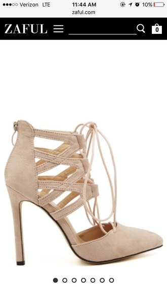 shoes zaful nude pumps