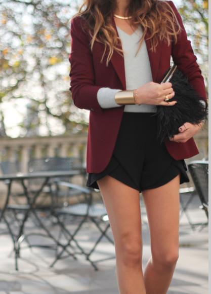 button up classy maroon maroon blazer shorts blazer shirt necklace jacket jewels black coat casual chic