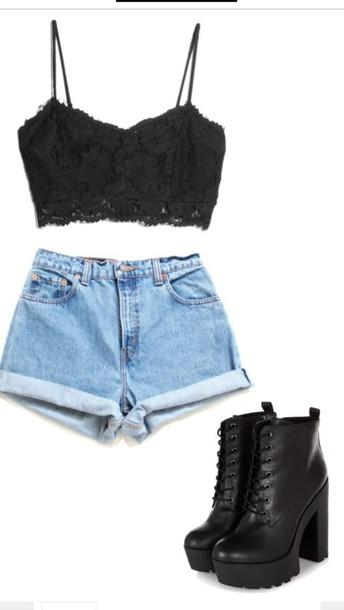 shoes shorts dress black