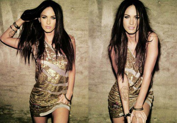dress megan fox glitter dress gold