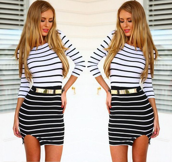 fashion style dress striped dress