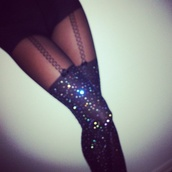 pants,tights,glitter,glamour,sparkle,thigh highs,love,fashion,dope,leggings,sexy,underwear,socks,overknees,black