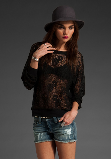 Lovers   friends hearts lace sweater in black at revolve clothing