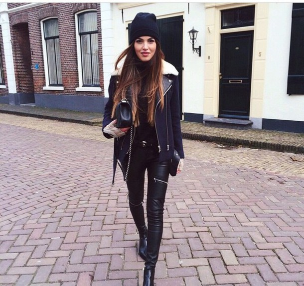coat jeans boots leather jacket leather jeans black cap bonnet stylish