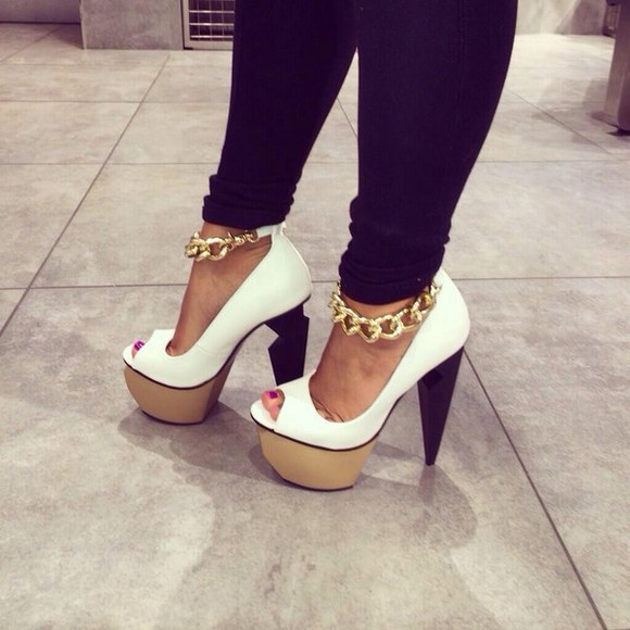 shoes chains white high heels pretty balck beige