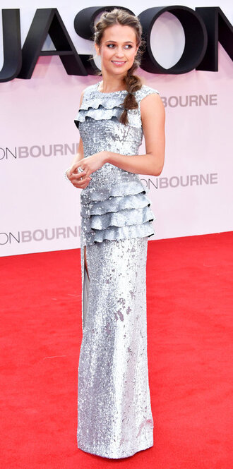 dress silver metallic alicia vikander gown prom dress wedding dress red carpet dress sequins sequin dress