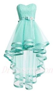 dress,prom dresses short description dresses,mint,beltsash,hi-lo,sweetheart neckline,a lines,zipper-up,sleeveless