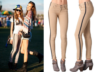 pants jeans leggings striped leggings single stripe model celebrity stripes striped trousers striped jeans cara delevingne