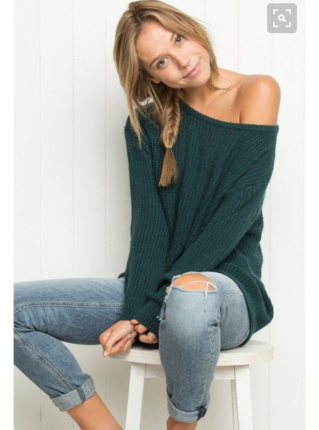 Sweater: alexis ren, green sweater, off the shoulder, ripped jeans ...