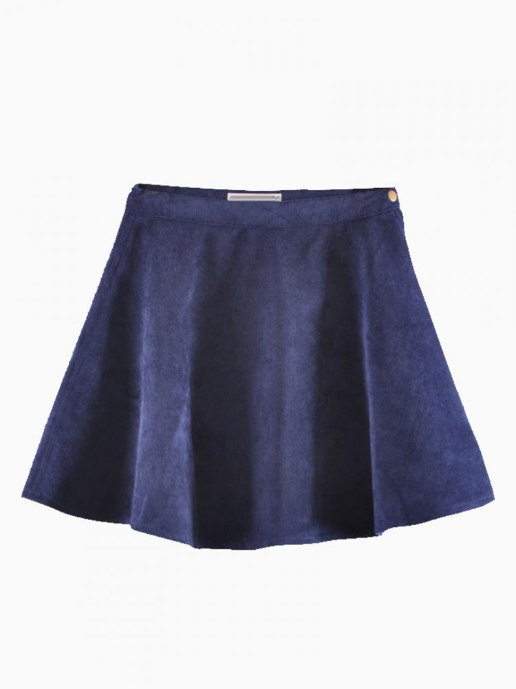 Corduroy Skater Skirt In Blue | Choies