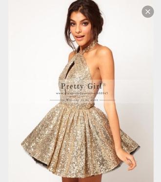 dress gold short dress party dress prom dress halter dress sparkle