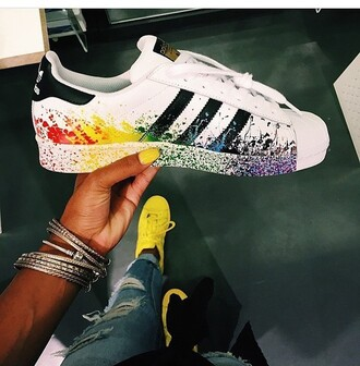 shoes adidas rainbow sneakers black red yellow green blue purple white adidas originals colorful paint adidas superstars stipes colorful nike custom made custom made shoes orange paint splattered nike sneakers white sneakers adidas shoes