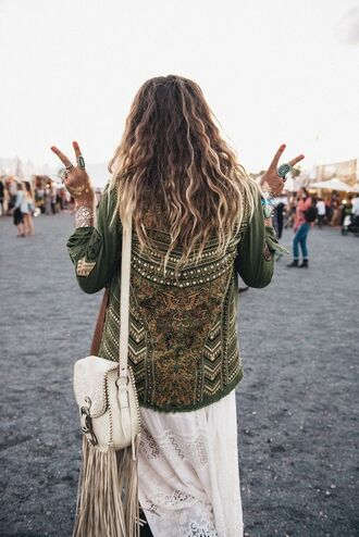 jacket boho jacket army green jacket embellished jacket bag fringed bag white bag boho coachella dress maxi dress lace dress white dress