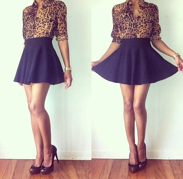 skirt royal blue leopard print blouse