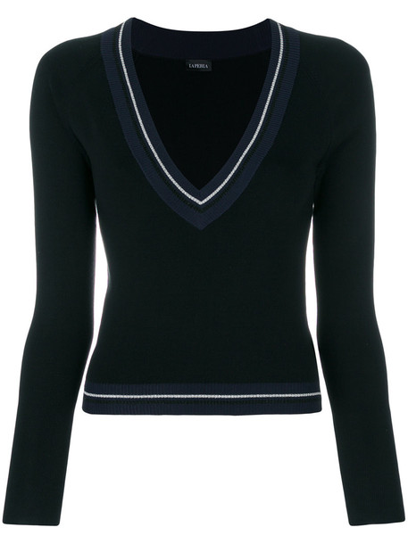 LA PERLA jumper women spandex black silk sweater