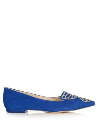 butterfly flats suede blue shoes