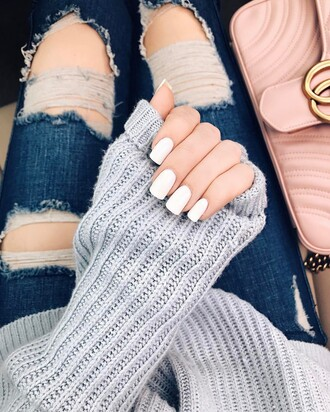 home accessory nails white nails nail polish tumblr denim jeans blue jeans ripped jeans