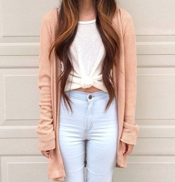 sweater shirt white top jeans high waisted jeans peach cardigan light jeans light blue