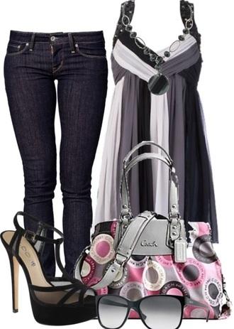 top jeans shoes bag sunglasses