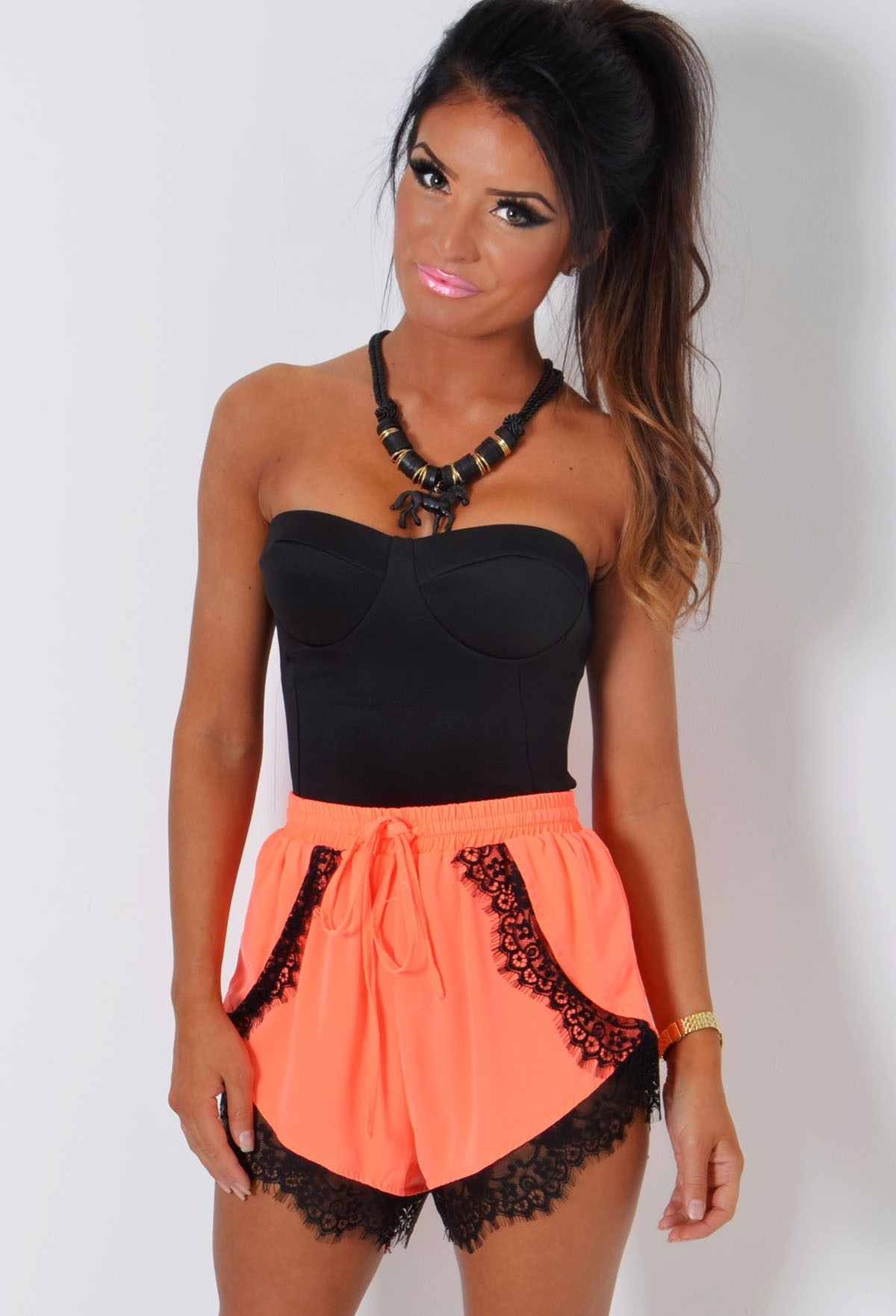 Tayan Neon Coral Lace Trim Chiffon Short | Pink Boutique