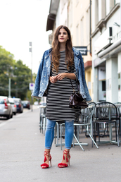 the fashion fraction,blogger,jacket,dress,jeans,bag,shoes,patent leather bag,striped dress,denim jacket,skinny jeans,blue jeans,cuffed jeans,dior bag,sandals,patent bag