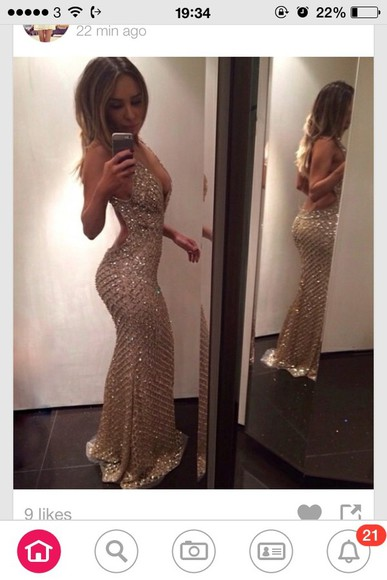 dress fishtail mermaid gold sequins gold dress prom fitted tight prom dress backless gold evening dress beautiful long low cut slit