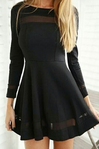 dress mesh black dress little black dress skater dress party dress casual thanksgiving nightwear zaful trendy fashion black sexy long sleeves