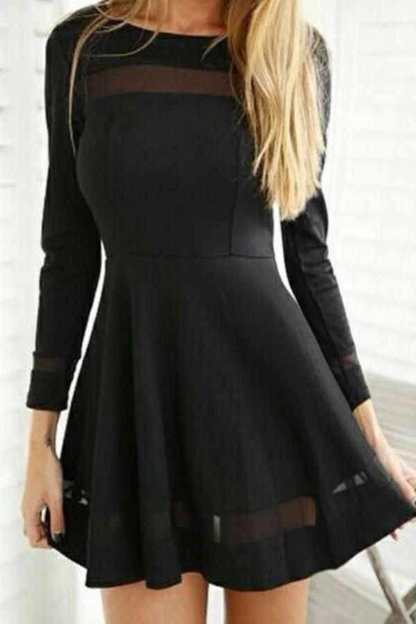 Long black flared dress