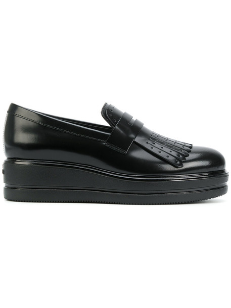 Hogan women loafers leather black shoes